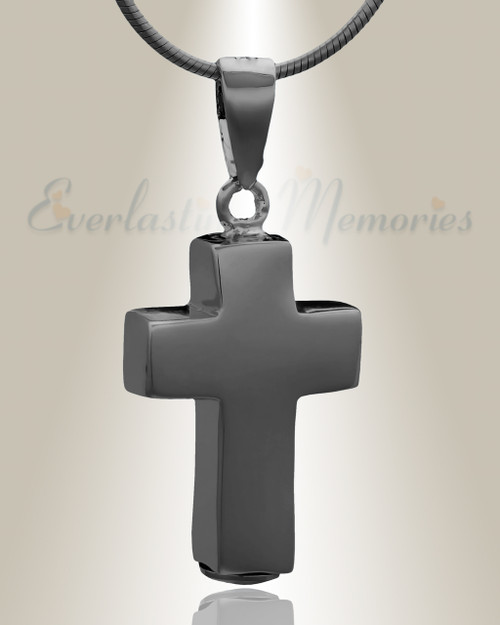 Black Truthful Cross Cremation Necklace