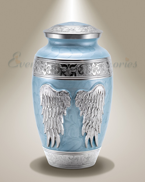Blue Angel Wings Individual Cremation Urn Blue Adult