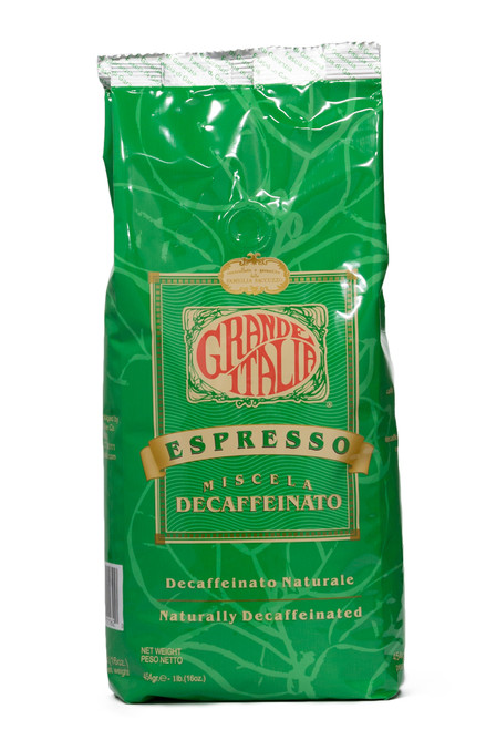 Grande Italia Decaffeinated Espresso Beans 1lbs. Front