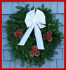 "30"" Fresh Maine Balsam Wreath, Snow White Bow"