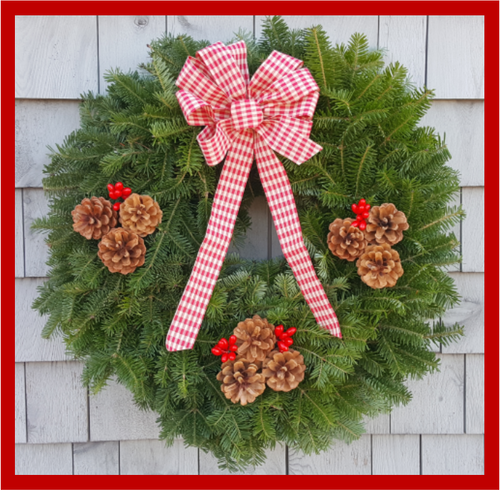 "24"" Fresh Maine Balsam Wreath, Gingham Bow"