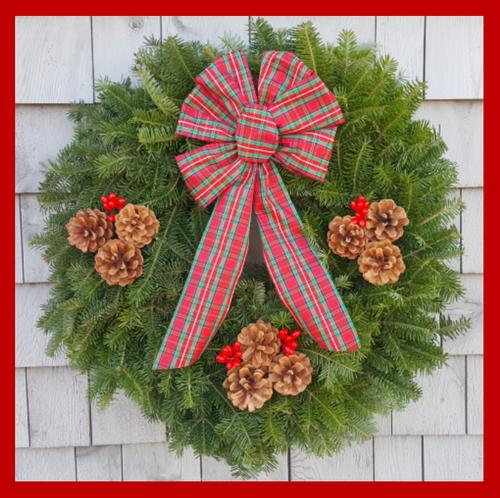 "24"" Fresh Maine Balsam Wreath, Tartan Bow"