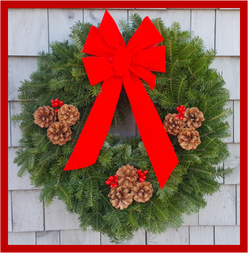 """30"""" Fresh Maine Balsam Wreath, Traditional Red Bow"""