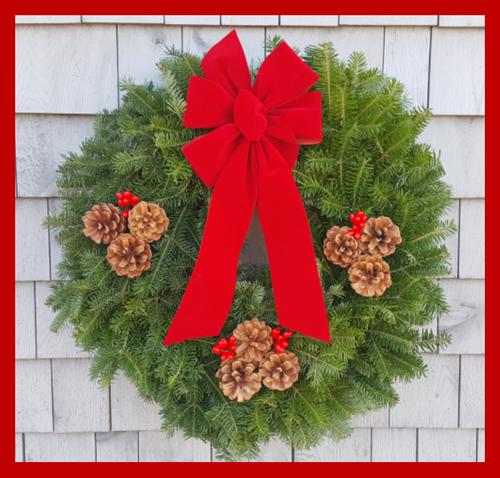 "24 "" Maine Balsam Wreath, Cranberry Bow"