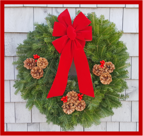 "30"" Maine Balsam Wreath, Cranberry Bow"