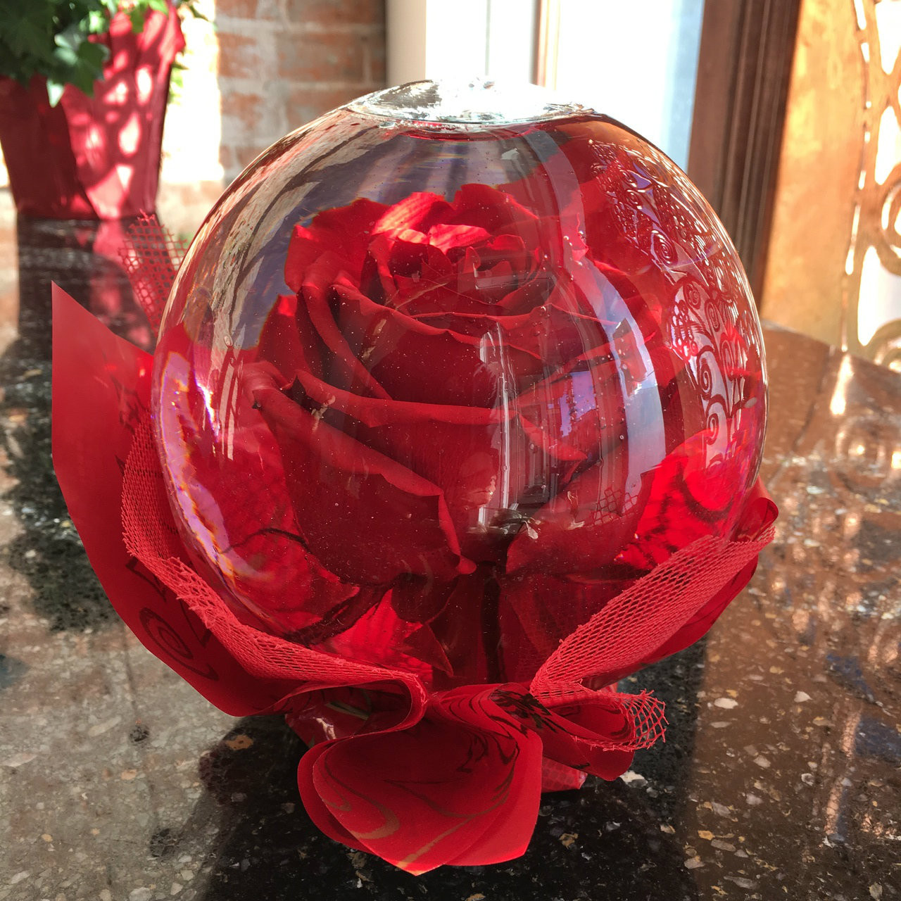 Red Rose Glass Globe 6 Diameter Back In Stock Pacific Floral