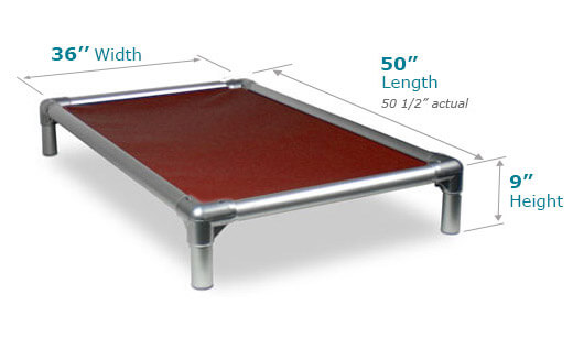 Illustration showing dimensions of 50 x 35 Size Bed