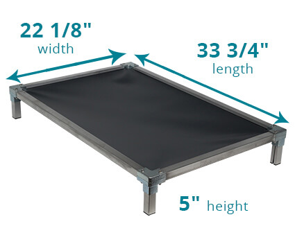 Illustration showing dimensions of 33 3/4 x 22 1/8 Size Bed