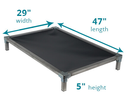 Illustration showing dimensions of 47 x 29 Size Bed