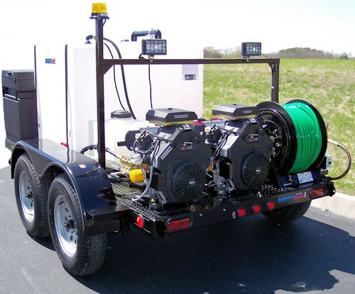 51T Series Trailer Jetter 2030 - 53 HP EFI, 20 GPM, 3000 PSI, 300 Gallon
