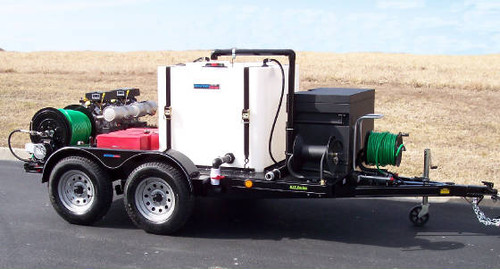 51T Series Trailer Jetter 1040 - 38 HP EFI, 10 GPM, 4000 PSI, 300 Gallon