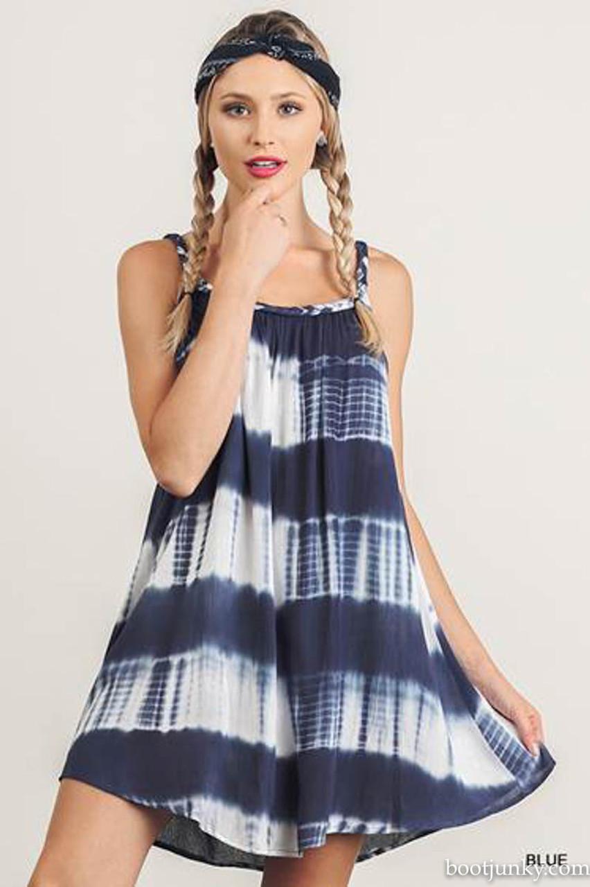 R7064 UMGEE Sleeveless Tie Dye Dress with Braided Straps Black