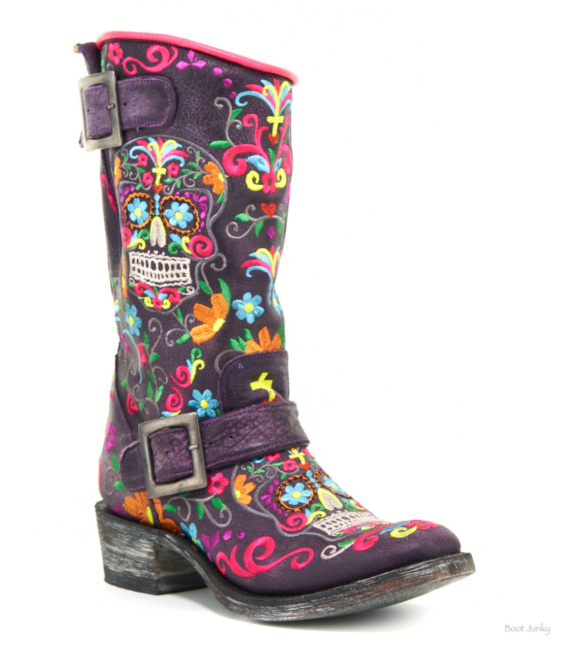b4489e3852 L1385-5 Old Gringo Sugar Skull Klak Biker Violet Purple Multi Neon Leather  Biker Boots