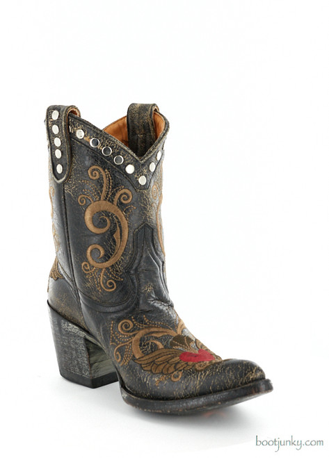 """L 734-2 OLD GRINGO LITTLE G DISTRESSED BLACK 8"""" ANKLE BOOTS (Sintino)"""