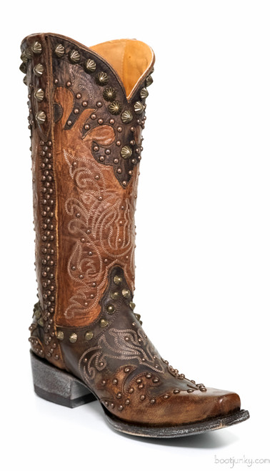 "L1244-5 OLD GRINGO RAELENE 13"" BRASS/CHOC LEATHER STUDDED COWGIRL BOOT"