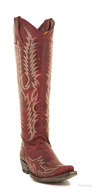 """L1213-1 4L Old Gringo Women's Mayra 18"""" Boots Red Snip Toe"""