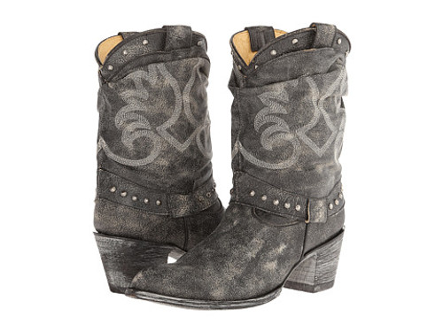 YL 055-3 OLD GRINGO YIPPEE KAY YAY AMARILLA CRACKLED BLACK LEATHER BOOTS