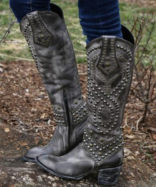 "L 903-2 OLD GRINGO BELINDA SNOW FURIA GREY DISTRESSED 18"" TALL COWGIRL BOOTS"