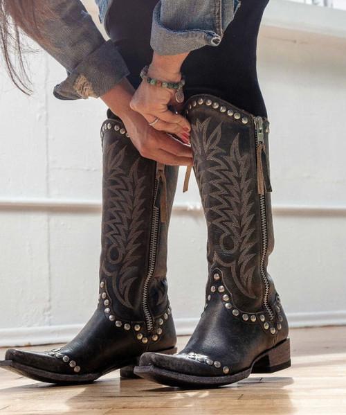 L 598-21 Old Gringo RockRazz Vesuvio Black Rivetted Boots