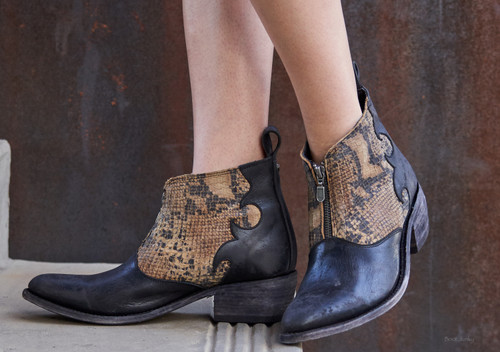 LB711164C Liberty Black Grace Mossil Negro Faux Exotic T-Moro Ankle Boot