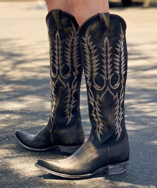 """L1613-9 Gorgeous Old Gringo Mayra Rustic Beige Distressed 18"""" Tall Leather Boots"""