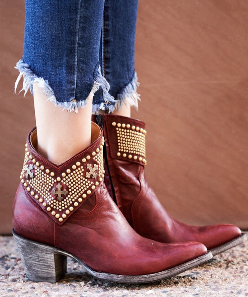 BL1446-2 Gorgeous Old Gringo Clovis Red Vesuvio Leather Ankle Boots