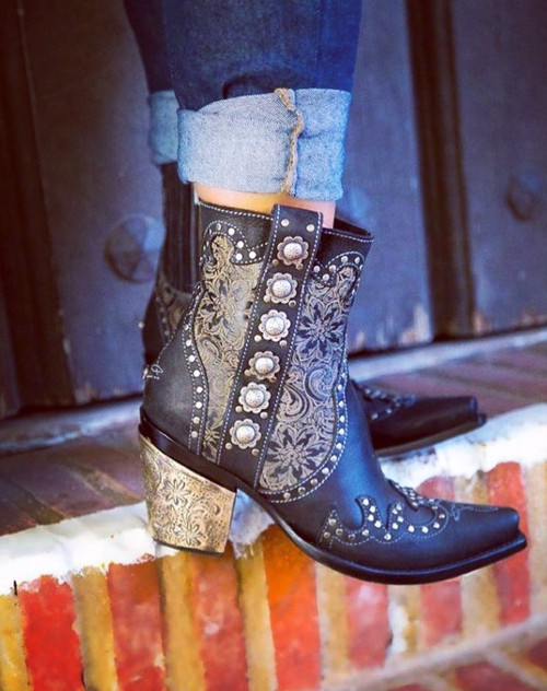 DDBL010-1 Double D Ranch San Antonio Rose Black Studded Ankle Boots