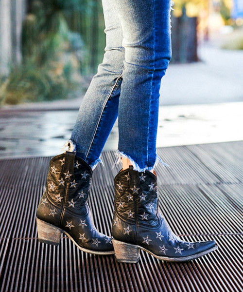 """L2308-1  OLD GRINGO LIBERTY STAR CRYSTAL 8"""" BLACK COWGIRL ANKLE BOOTS (Sintino 4 Toe/Sintino Heel)"""