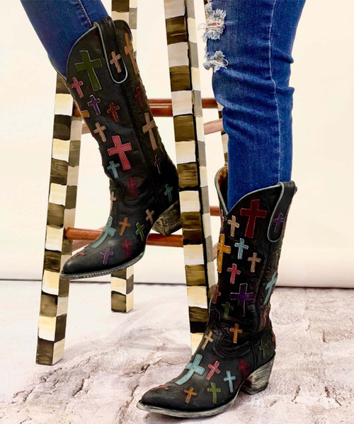 """L 819-5 OLD GRINGO OH MY GOD BLACK 13"""" LEATHER BOOTS (SINTINO TOE/HEEL)"""