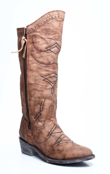 L2196-3-SS OLD GRINGO DULCE GOLD SWAROVSKI CRYSTAL LEATHER COWGIRL BOOTS