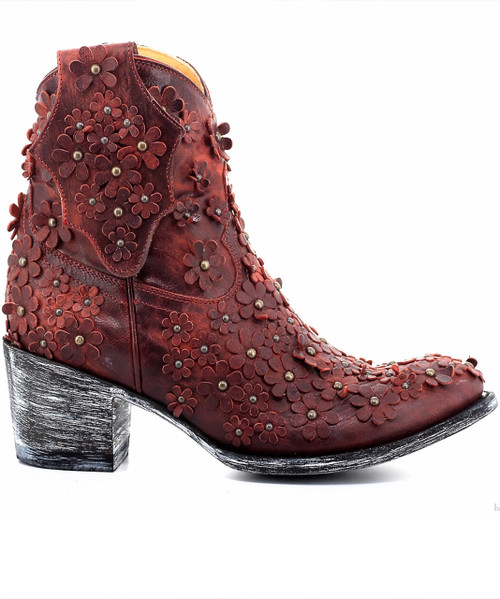 L 840-13 OLD GRINGO HIPPIE CHICK VESUVIO RED FLOWER ANKLE LEATHER BOOTS
