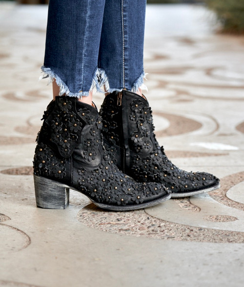 L 840-14 OLD GRINGO HIPPIE CHICK VESUVIO BLACK FLOWER ANKLE LEATHER BOOTS