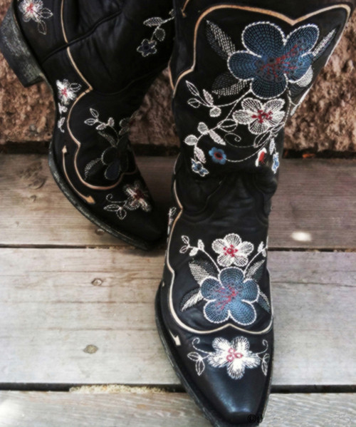 L 696-5 OLD GRINGO BONNIE PIPIN BLACK EMBROIDERED BOOTS