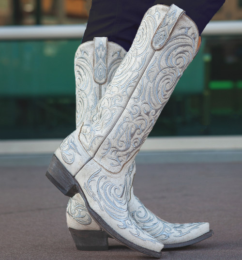 "L 221-26 OLD GRINGO MADONA 15"" WHITE CHAMPAGNE SILVER DISTRESSED LEATHER BOOTS"