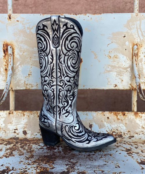 "L 221-29 OLD GRINGO MADONA 15"" METALLIC WASHED SILVER EXPRESSO EMBROIDERED LEATHER BOOTS"