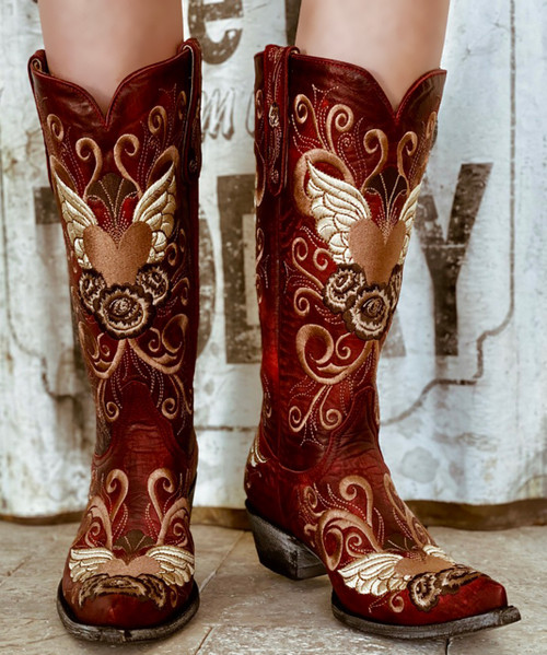 """L 639-3 OLD GRINGO GRACE 13"""" RED EMBROIDERED COWGIRL BOOTS"""