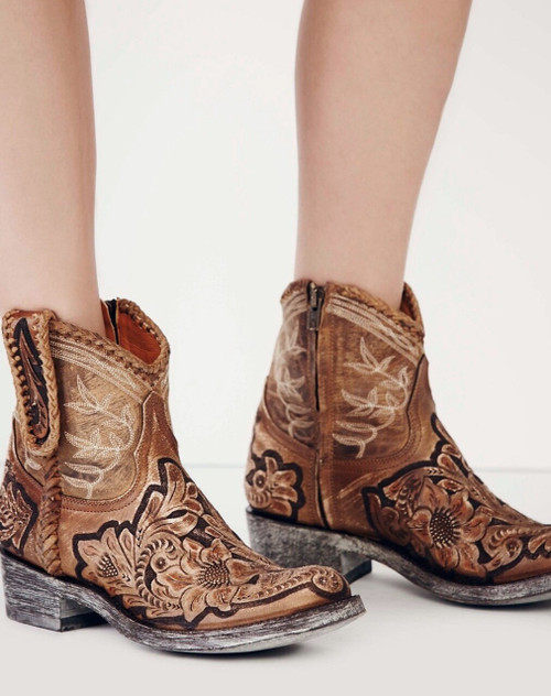 """L1697-1 OLD GRINGO POLO CHALE QUEENSWOOD 7"""" TAN SNUFF NATURAL HANDTOOLED BOHO ANKLE BOOTS"""