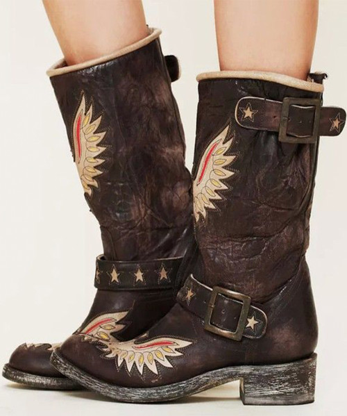 L 816-1 OLD GRINGO BIKER EAGLE STAR CHOCOLATE / BONE BIKER BOOTS