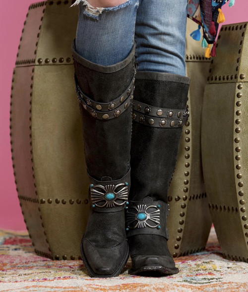 DDL003-2 DOUBLE D RANCH BOW GUARD DISTRESSED BLACK WOMEN'S BOOTS