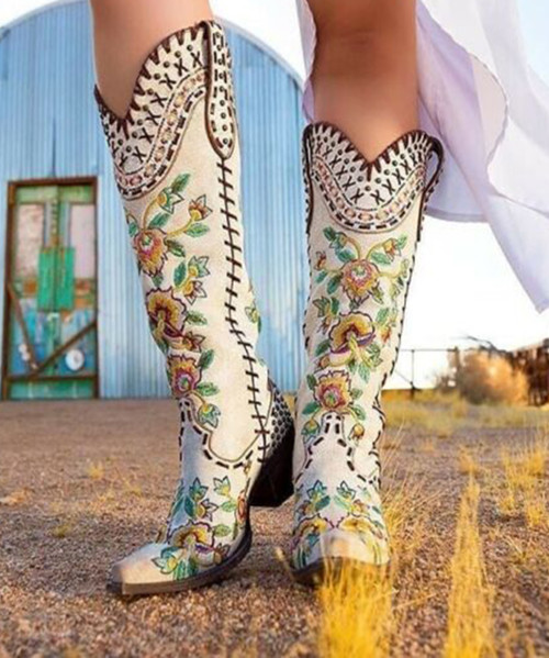 """DDL026-1 DOUBLE D RANCH ALMOST FAMOUS CRACKLED WHITE EMBROIDERED FLORAL TALL 17"""" BOOTS"""