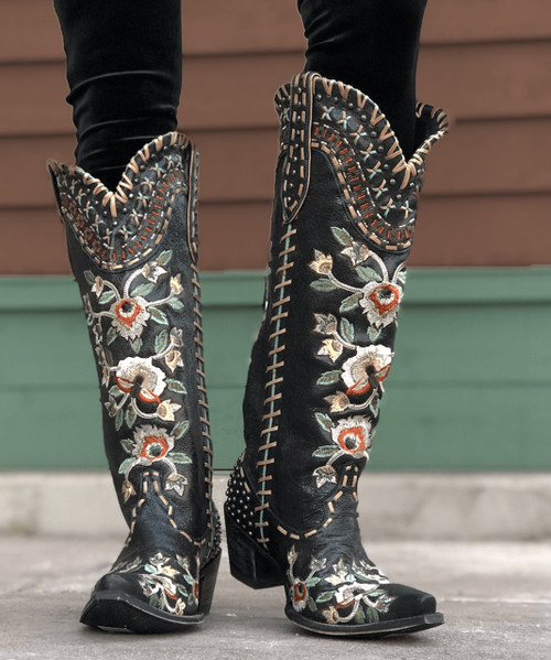 "DDL026-2 DOUBLE D RANCH ALMOST FAMOUS DISTRESSED BLACK EMBROIDERED FLORAL TALL 17"" BOOTS"