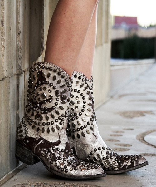 """L 930-3 OLD GRINGO TINO TINO WHITE / BROWN STUDDED 10"""" COWGIRL BOOTS"""