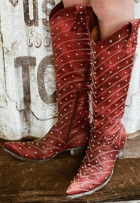 L 675-5 OLD GRINGO HOSIFOOKAMI TALL RED WOMENS LEATHER BOOTS