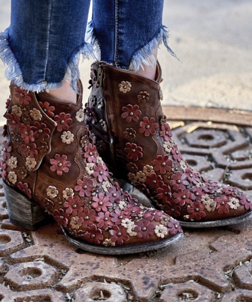 """L 840-11 OLD GRINGO HIPPIE CHICK BRASS RED  BONE  7"""" ANKLE BOOTS"""