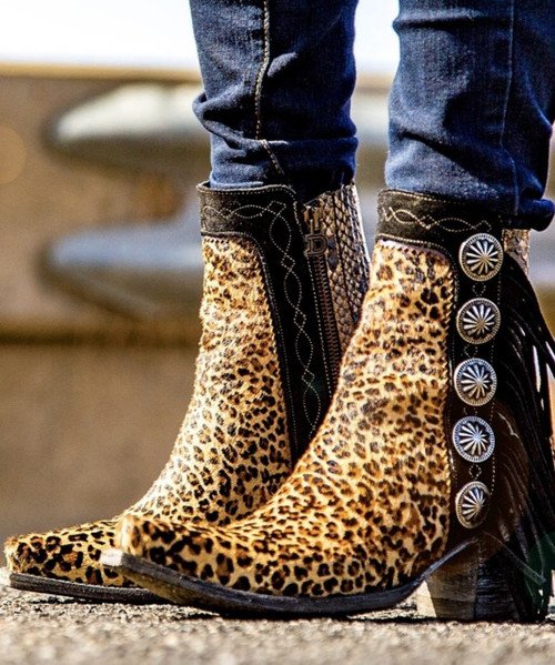 DDBL029-1 DOUBLE D BY OLD GRINGO SKAT KAT CHEETAH PRINT FRINGE ANKLE BOOTS