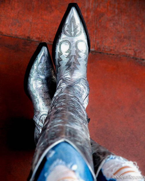 "L2942-1 OLD GRINGO MAYRA BIS METALLIC SILVER TALL 18"" BOOTS (0 TOE/9964 HEEL)"
