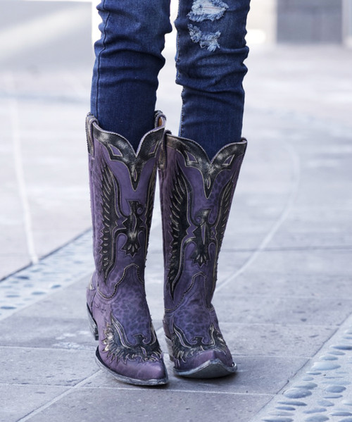 "L 105-85 OLD GRINGO EAGLE VIOLET LEOPARDITO 13"" COWGIRL BOOTS"