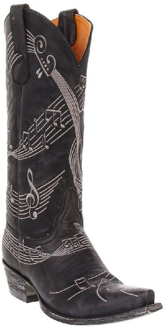 "L1030-5 OLD GRINGO VIOLINA VESUVIO BLACK SILVER EMBROIDERY 13"" LEATHER BOOTS"