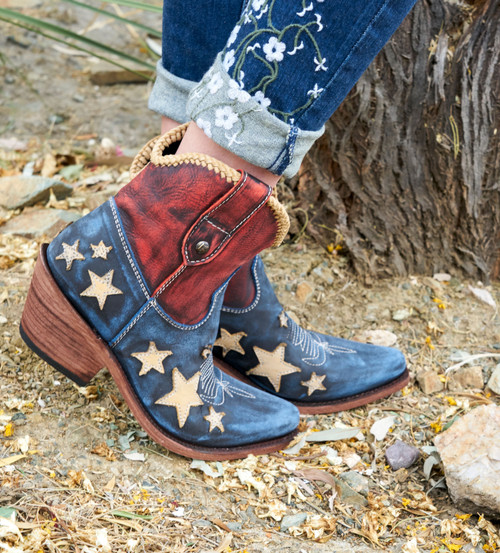 LB712922A  LIBERTY BLACK CLAUDIA PATRIOTIC RED WHITE BLUE ANKLE LEATHER BOOTS