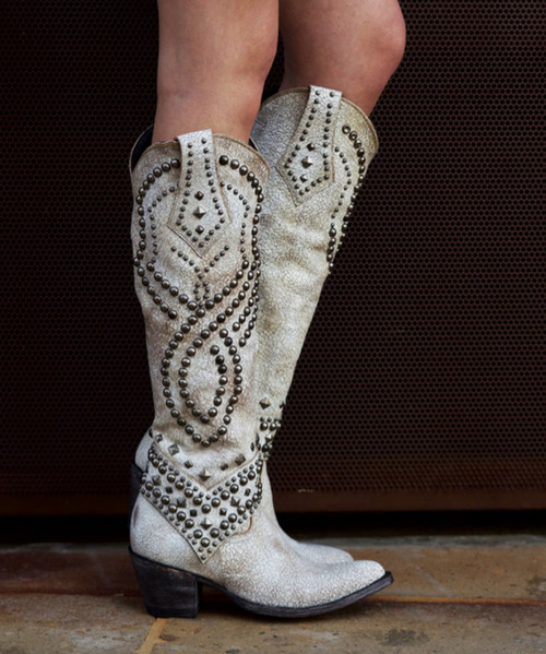 """L 903-32 RELAXED FIT OLD GRINGO BELINDA RELAXED FIT CRACKLED WINTER WHITE MILK TALL 18"""" BOOTS"""